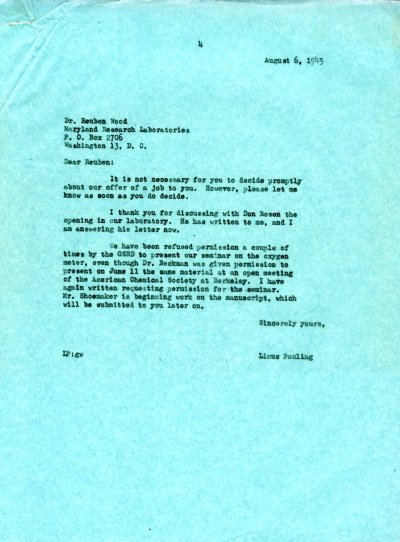 Letter from Linus Pauling to Reuben E. Wood. Page 1. August 6, 1945
