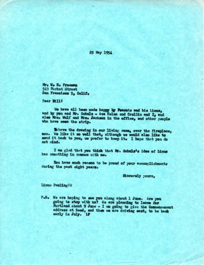 Letter from Linus Pauling to W.H. Freeman.Page 1. May 25, 1954