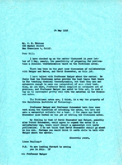 Letter from Linus Pauling to W.H. Freeman. Page 1. May 24, 1956