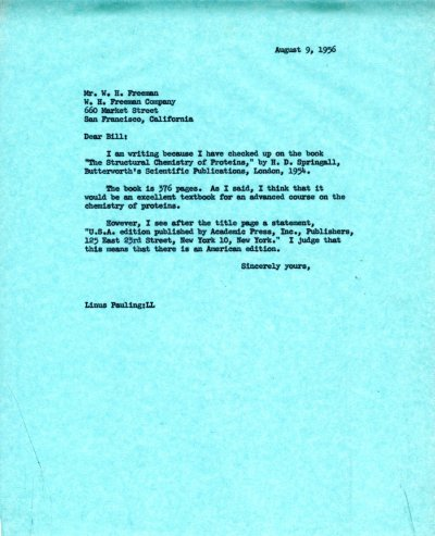Letter from Linus Pauling to W.H. Freeman. Page 1. August 9, 1956