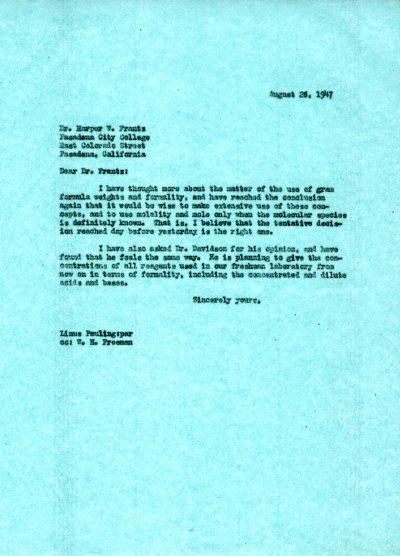 Letter from Linus Pauling to Harper W. Frantz. Page 1. August 28, 1947