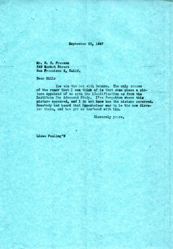 Letter from Linus Pauling to W.H. Freeman. Page 1. September 23, 1947