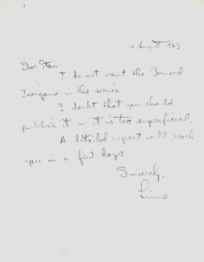 Letter from Linus Pauling to Stanley Schaefer.Page 1. August 11, 1963