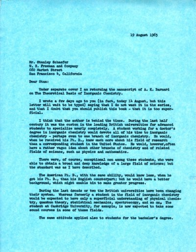 Letter from Linus Pauling to Stanley Schaefer.Page 1. August 19, 1963