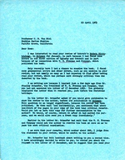 Letter from Linus Pauling to Cornelis B. van Niel.Page 1. April 29, 1963
