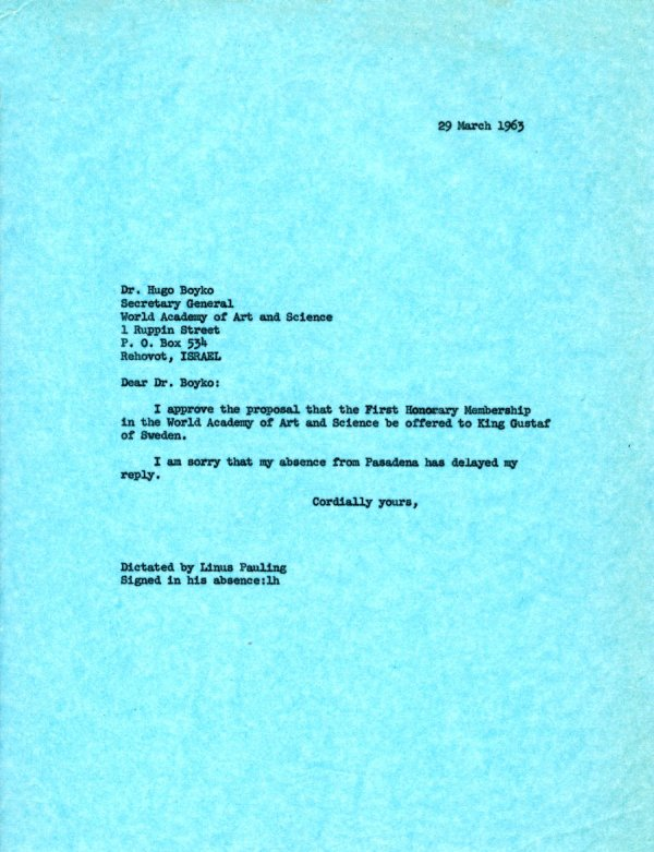 Letter from Linus Pauling to Hugo Boyko.Page 1. March 29, 1963
