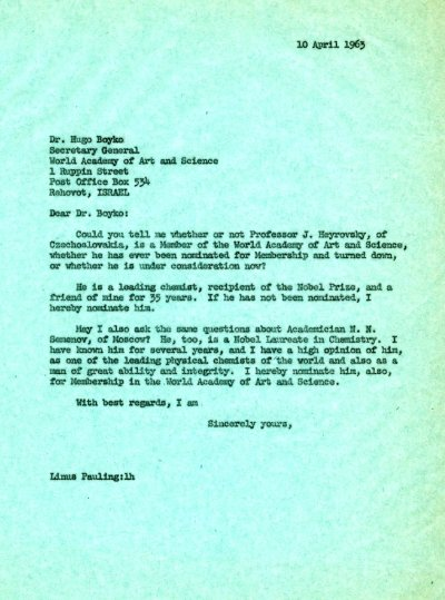 Letter from Linus Pauling to Hugo Boyko. Page 1. April 10, 1963