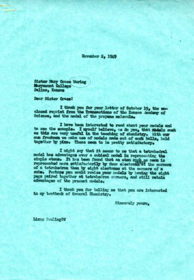 Letter from Linus Pauling to Sister Mary Grace Waring. Page 1. November 2, 1949