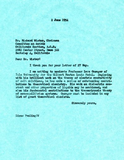 Letter from Linus Pauling to Richard Wistar.Page 1. June 2, 1954