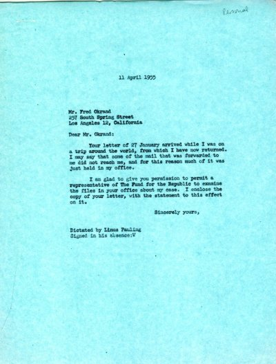 Letter from Linus Pauling to Fred Okrand. Page 1. April 11, 1955