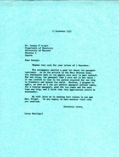 Letter from Linus Pauling to George F. Wright. Page 1. December 13, 1955