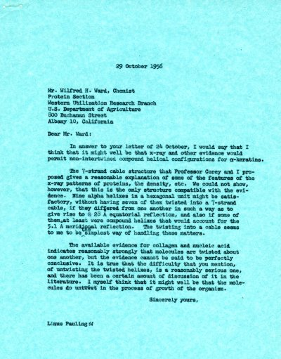 Letter from Linus Pauling to Wilfred H. Ward. Page 1. October 29, 1956