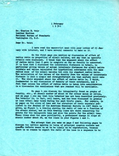 Letter from Linus Pauling to Charles E. Weir. Page 1. February 1, 1956