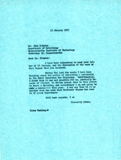 Letter from Linus Pauling to John Chipman. Page 1. January 17, 1957