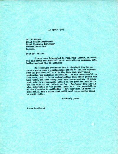 Letter from Linus Pauling to W. Walker. Page 1. April 15, 1957