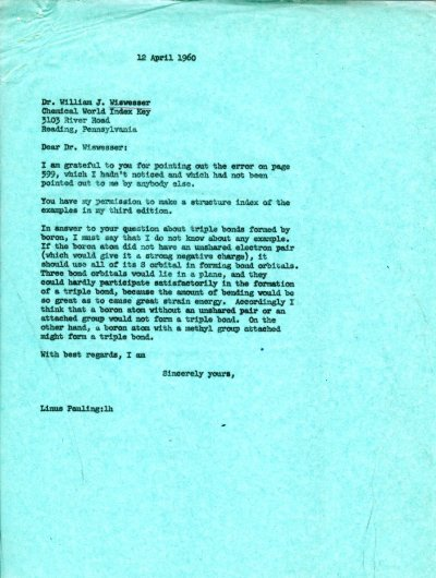 Letter from Linus Pauling to William J. Wiswesser. Page 1. April 12, 1960