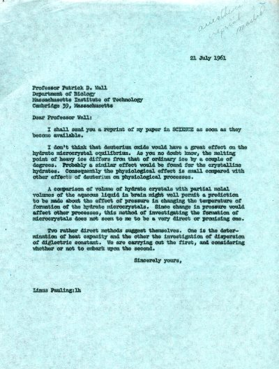 Letter from Linus Pauling to Patrick D. Wall. Page 1. July 21, 1961