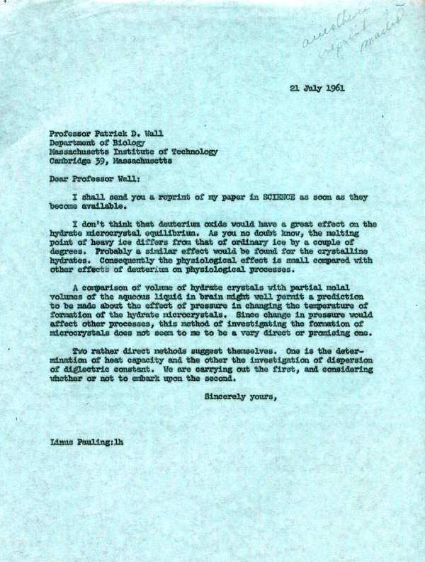 Letter from Linus Pauling to Patrick D. Wall.Page 1. July 21, 1961