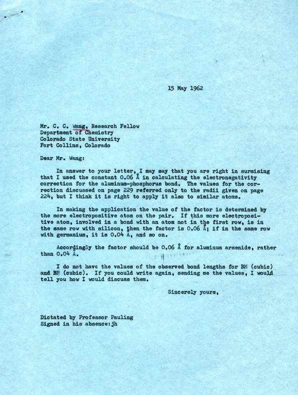 Letter from Linus Pauling to C. C. Wang. Page 1. May 15, 1962