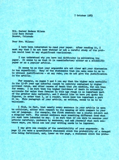 Letter from Linus Pauling to Garner Dodson Wilson.Page 1. October 7, 1963
