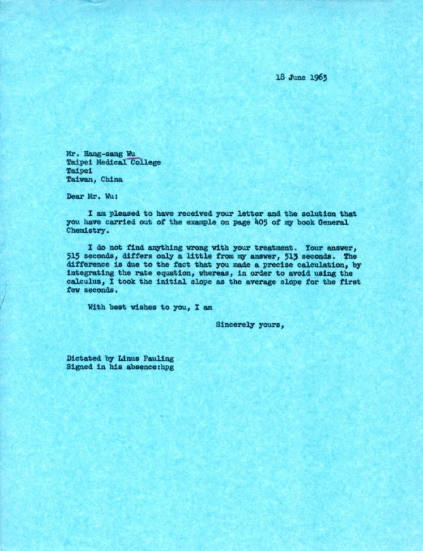 Letter from Linus Pauling to Hang-sang Wu. Page 1. June 18, 1963