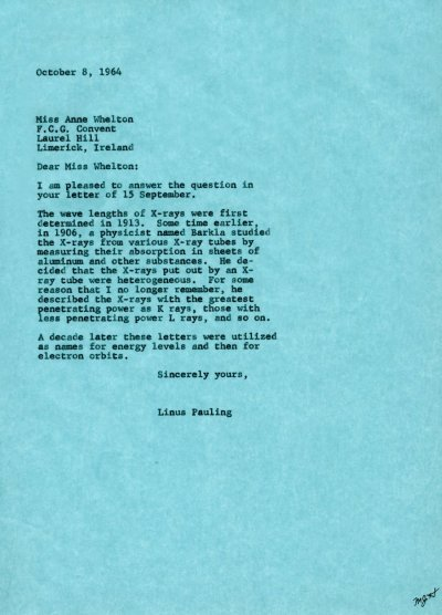 Letter from Linus Pauling to Anne Whelton. Page 1. October 8, 1964