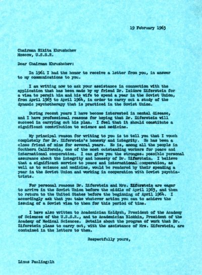 Letter from Linus Pauling to Nikita S. Khrushchev.Page 1. February 19, 1963