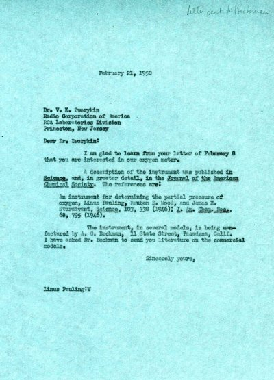 Letter from Linus Pauling to V.K. Zworykin. Page 1. February 21, 1950