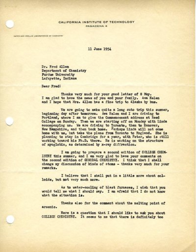 Letter from Linus Pauling to Fred Allen.Page 1. June 11, 1954