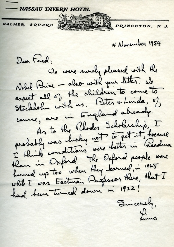 Letter from Linus Pauling to Fred Allen. Page 1. November 14, 1954