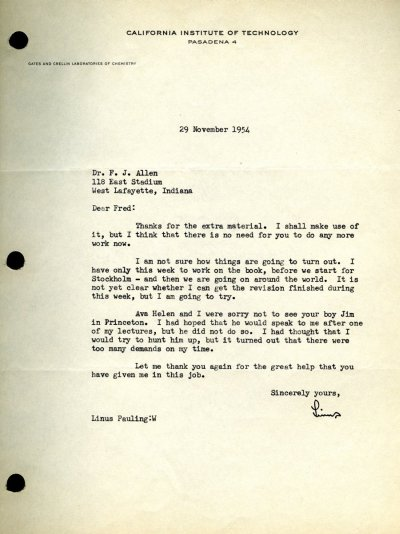 Letter from Linus Pauling to Fred Allen.Page 1. November 29, 1954