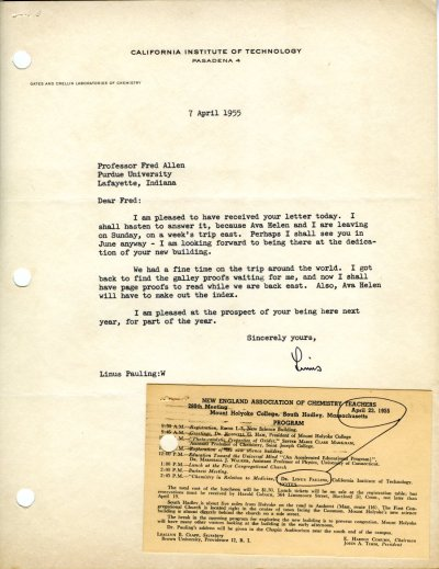 Letter from Linus Pauling to Fred Allen. Page 1. April 7, 1955