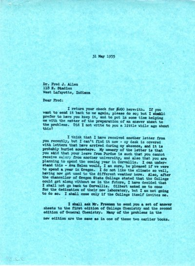 Letter from Linus Pauling to Fred Allen. Page 1. May 31, 1955