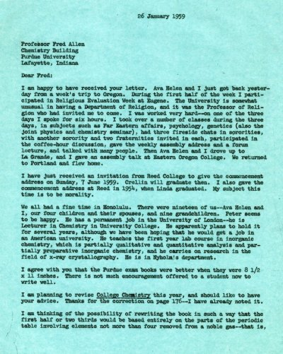 Letter from Linus Pauling to Fred Allen. Page 1. January 26, 1959