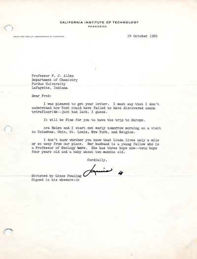 Letter from Linus Pauling to Fred Allen. Page 1. October 24, 1962