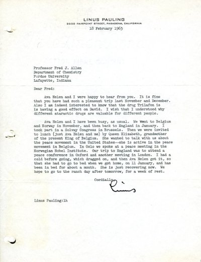 Letter from Linus Pauling to Fred J. Allen. Page 1. February 18, 1963