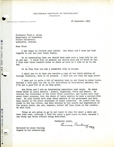 Letter from linus Pauling to Fred Allen.Page 1. September 18, 1963