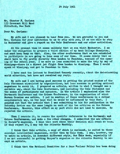 Letter from Linus Pauling to Chester Carlson. Page 1. July 24, 1961