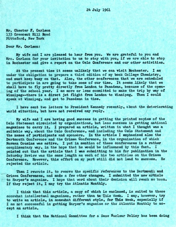 Letter from Linus Pauling to Chester Carlson.Page 1. July 24, 1961
