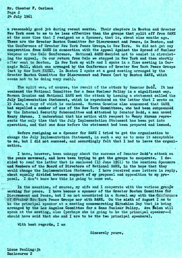Letter from Linus Pauling to Chester Carlson.Page 2. July 24, 1961