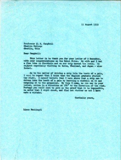 Letter from Linus Pauling to J.A. Campbell. Page 1. August 11, 1955