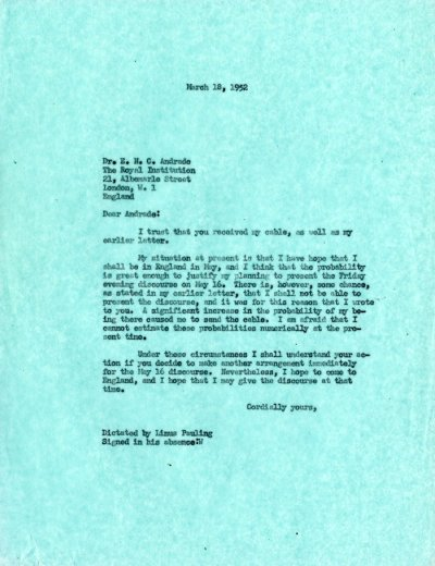 Letter from Linus Pauling to E.N.C. AndradePage 1. March 18, 1952