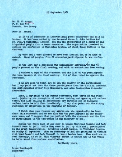 Letter from Linus Pauling to M. S. Arnoni. Page 1. September 27, 1961