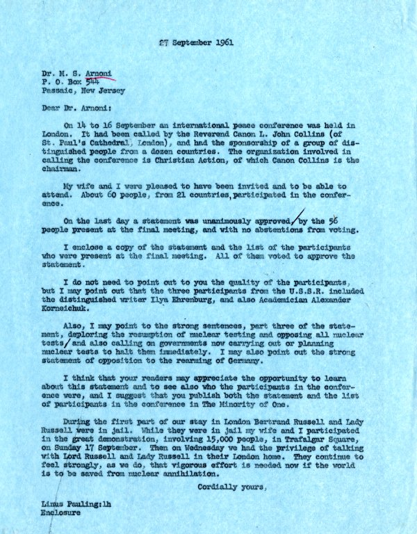 Letter from Linus Pauling to M. S. Arnoni.Page 1. September 27, 1961