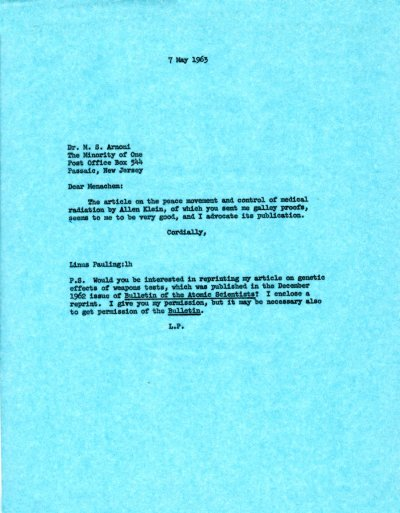 Letter from Linus Pauling to Dr. M.S. Arnoni.Page 1. May 7, 1963