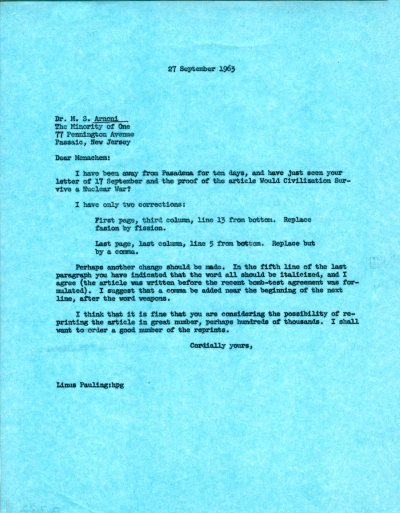 Letter from Linus Pauling to M. S. Arnoni. Page 1. September 27, 1963