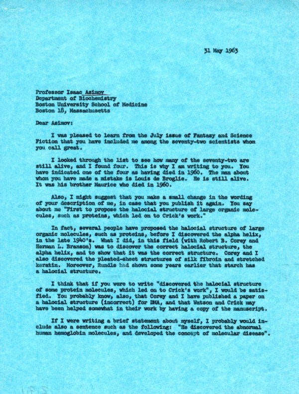 Letter from Linus Pauling to Isaac Asimov. Page 1. May 31, 1963