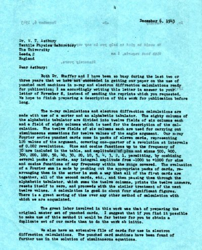 Letter from Linus Pauling to William T. Astbury. Page 1. December 6, 1943