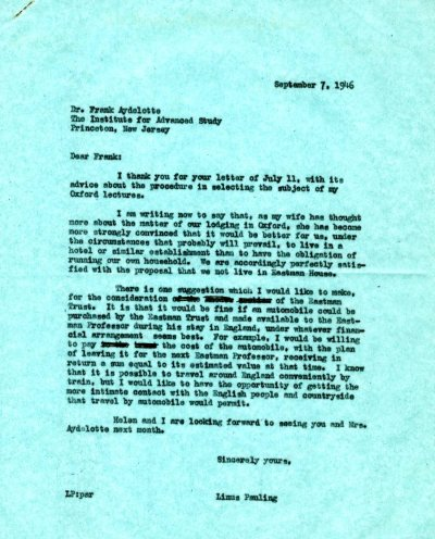 Letter from Linus Pauling to Frank Aydelotte. Page 1. September 7, 1946