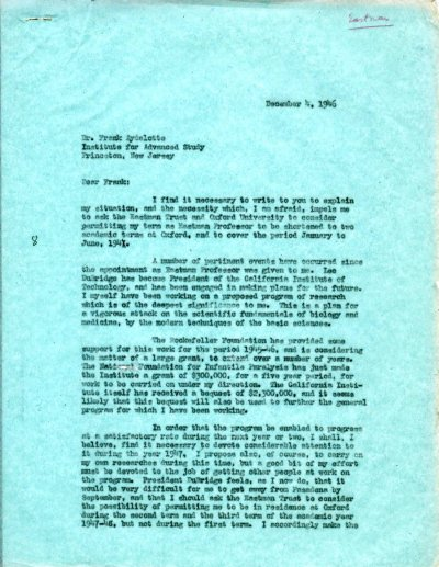 Letter from Linus Pauling to Frank Aydelotte. Page 1. December 4, 1946